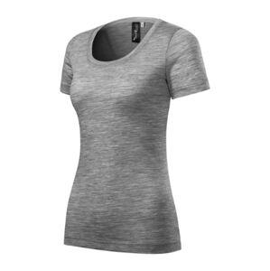 Malfini Merino Rise dámské krátké tričko, tmavě šedý melír - XL