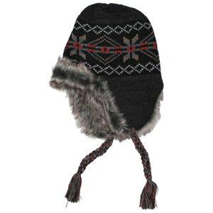 MFH čepice Peru Puno s kožešinovou podšívkou, černo šedá