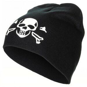 MFH pletená čepice s motivem lebky, černá