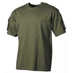 MFH US olivové tričko s velcro kapsami na rukávech, 170g/m2 - L
