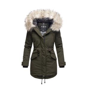 Navahoo LadyLike dámska zimná bunda s kapucňou a kožušinou, olivová - S