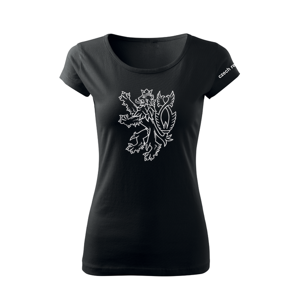WARAGOD dámské krátké tričko český lev, černá 150g/m2 - S