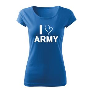 WARAGOD dámské krátké tričko i love army, modrá 150g/m2 - L