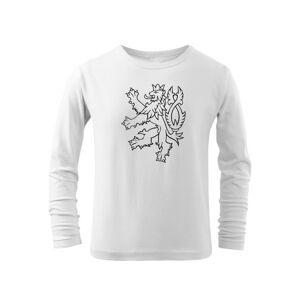 WARAGOD Dětské dlhé tričko Český lev, bílá - 10let/146cm
