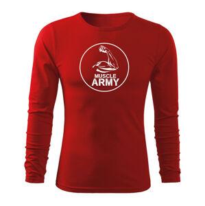 WARAGOD Fit-T tričko s dlouhým rukávem muscle army biceps, červená 160g / m2 - L
