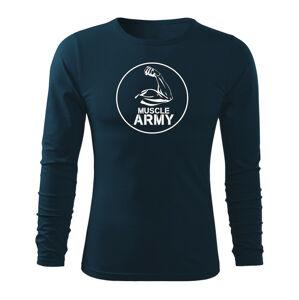 WARAGOD Fit-T tričko s dlouhým rukávem muscle army biceps, tmavě modrá 160g / m2 - M