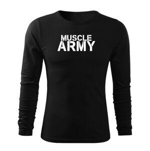 WARAGOD Fit-T tričko s dlouhým rukávem muscle army, černá 160g / m2 - S