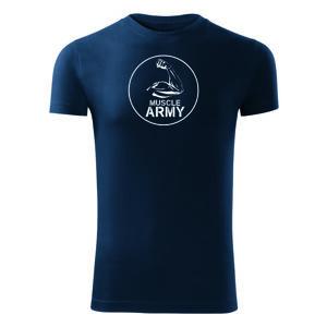 WARAGOD fitness tričko muscle army biceps, modrá 180g/m2 - XXL