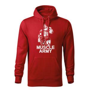 WARAGOD pánská mikina s kapucí muscle army man, červená 320g / m2 - M