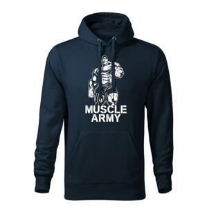 WARAGOD pánská mikina s kapucí muscle army man, tmavě modrá 320g / m2 - XXL