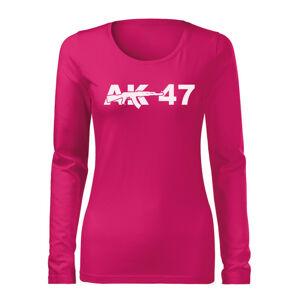 WARAGOD Slim dámské tričko s dlouhým rukávem ak47, růžová 160g / m2 - XS