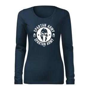 WARAGOD Slim dámské tričko s dlouhým rukávem Archelaos, tmavě modrá 160g / m2 - XXL