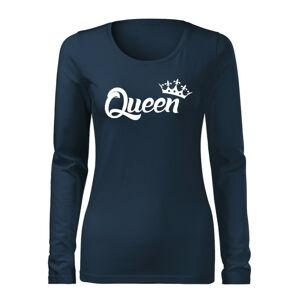 WARAGOD Slim dámské tričko s dlouhým rukávem queen, tmavě modrá160g / m2 - XXL