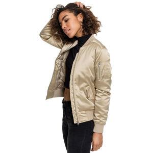 Urban Classics dámská saténová bomber bunda, zlatá - XL