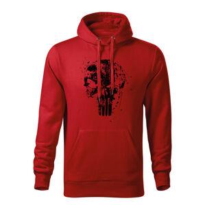 WARAGOD pánská mikina s kapucí Frank The Punisher, červená 320g / m2 - XXL