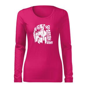 WARAGOD Slim dámské tričko s dlouhým rukávem León, růžová 160g / m2 - XXL